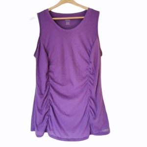 Reebok ruched athletic sleeveless purple top